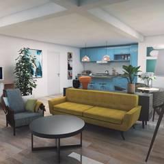 Apartamento na Parede: Salas de estar modernas por aponto