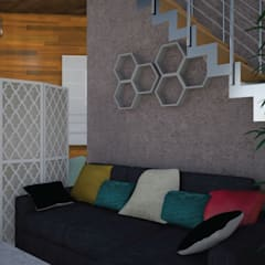 Hall- Render 3D: Livings de estilo  por Mica Chapado