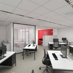 Sala de trabajo Moneycorp: Estudios y despachos de estilo  de Pacheco & Asociados