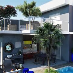 Área de lazer Perfeita: Casas  por Trivisio Consultoria e Projetos em 3D