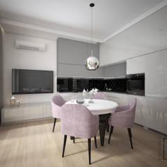 Przeciwieństwa się przyciągają.: styl , w kategorii Aneks kuchenny zaprojektowany przez 4 kąty a stół 5 Pracownia Projektowa Ewelina Białobrzewska