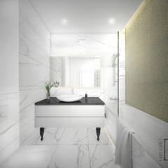 Przeciwieństwa się przyciągają.: styl , w kategorii Łazienka zaprojektowany przez 4 kąty a stół 5 Pracownia Projektowa Ewelina Białobrzewska