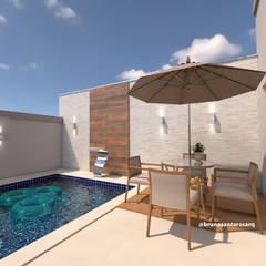Reforma Residência: Piscinas  por Bruna Santarosa Arquitetura e Interiores