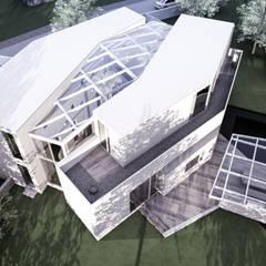 Villa von oben mit überglastem Atrium und Schwimmteich:  Villa von Architekturbüro Milan Schmitt