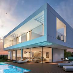 CASA RB1 - Moradia na Vila Utopia - Projeto de Arquitetura Casas modernas por Traçado Regulador. Lda Moderno Pedra