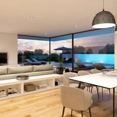 CASA RB1 - Moradia na Vila Utopia - Projeto de Arquitetura: Salas de estar  por Traçado Regulador. Lda,Moderno Madeira Acabamento em madeira