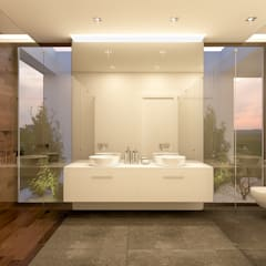 Bathroom by Traçado Regulador. Lda, Modern لکڑی Wood effect