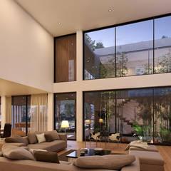 CASA SG2 - Moradia na Herdade da Aroeira - Projeto de Arquitetura: Salas de estar  por Traçado Regulador. Lda,Moderno Madeira Acabamento em madeira