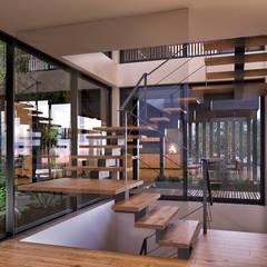 CASA SG2 - Moradia na Herdade da Aroeira - Projeto de Arquitetura: Escadas  por Traçado Regulador. Lda,