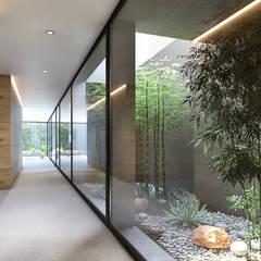 CASA SG2 - Moradia na Herdade da Aroeira - Projeto de Arquitetura Corredores, halls e escadas modernos por Traçado Regulador. Lda Moderno Betão