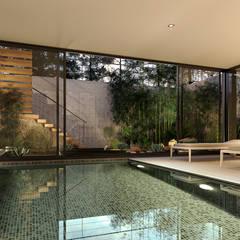 CASA SG2 - Moradia na Herdade da Aroeira - Projeto de Arquitetura: Piscinas  por Traçado Regulador. Lda,Moderno Betão