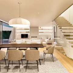 CASA HC1 - Moradia no Estoril - Projeto de Arquitetura: Salas de jantar  por Traçado Regulador. Lda,Moderno Madeira Acabamento em madeira