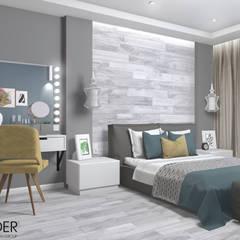 Интерьер двухкомнатной квартиры с добавлением синих и желтых оттенков: Спальни в . Автор – RENDER, Лофт