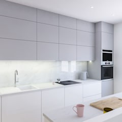 Kuchnia z marmurem w tle - Creatovnia: styl , w kategorii Aneks kuchenny zaprojektowany przez Creatovnia