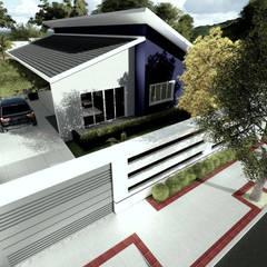 Vista superior angulada da volumetria da edificação proposta: Casas familiares  por Milward Arquitetura