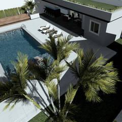 Vista angular aérea da área de lazer proposta: Casas familiares  por Milward Arquitetura