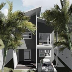 Vista frontal da edificação: Casas familiares  por Milward Arquitetura