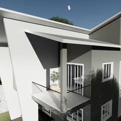 Detalhe dos ângulos da volumetria: Casas familiares  por Milward Arquitetura