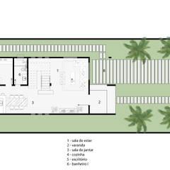 Planta baixa arquitetônica do pavimento térreo com ambientação: Casas familiares  por Milward Arquitetura