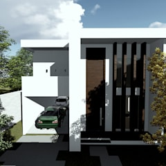 Vista frontal da edificação proposta: Casas familiares  por Milward Arquitetura
