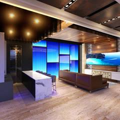CASA NV01: Salas multimedia de estilo minimalista por Miranda Paez Arquitectura Interior