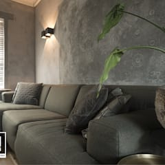 Restyling woonkamer : industriële Woonkamer door Molitli Interieurmakers