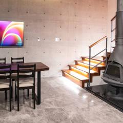 남양주 별장: 위 종합건축사사무소의  다이닝 룸,휴양지