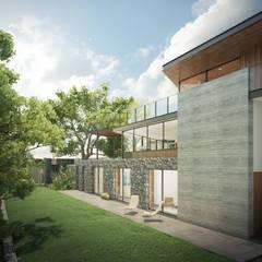 Detalle fachada posterior: Casas unifamiliares de estilo  por DELTA