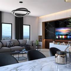 Dündar Design - Mimari Görselleştirme – Salon - İç Mekan Görselleştirme:  tarz Oturma Odası,