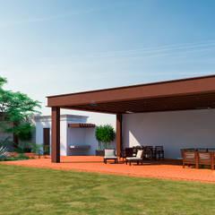 FACHADA LATERAL TERRAZA: Terrazas de estilo  por Francisco Cruz & Arquitectos