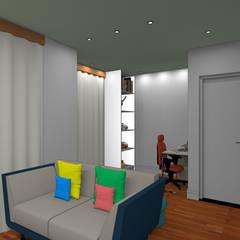 Phòng học/Văn phòng theo Paes de Andrade Arquitetura, Mộc mạc Gỗ-nhựa composite