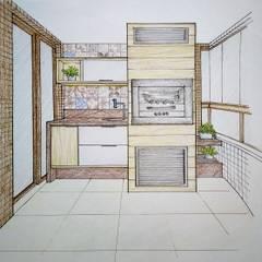 Estudo de projeto para varanda gourmet: Terraços  por Bernal Projetos - Arquitetos em Salvador