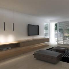 Lomas de Las Mercedes: Salas / recibidores de estilo  por RRA Arquitectura, Minimalista Mármol