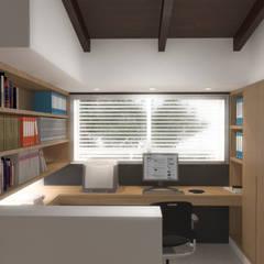 Lomas de Las Mercedes: Oficinas de estilo  por RRA Arquitectura, Minimalista Madera Acabado en madera