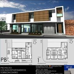 Locales + Departamentos TC: Espacios comerciales de estilo  por arquitectura+proyectos