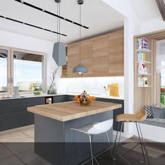 szara z drewnem1: styl , w kategorii Kuchnia na wymiar zaprojektowany przez INTUS DeSiGn
