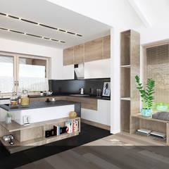 Biała z drewnem1: styl , w kategorii Kuchnia na wymiar zaprojektowany przez INTUS DeSiGn