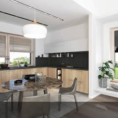 Drewno z bielą 1: styl , w kategorii Kuchnia na wymiar zaprojektowany przez INTUS DeSiGn