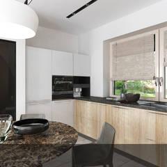Drewno z bielą2: styl , w kategorii Kuchnia na wymiar zaprojektowany przez INTUS DeSiGn