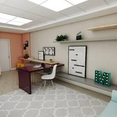 OFFICE MAYARA: Espaços comerciais  por Studio M Arquitetura,Escandinavo