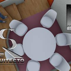 Interiores de casa habitación en imágenes renders: Comedores de estilo asiático por RIANSLARQUITECTOS