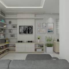 sala de estar - vista do hack: Salas de estar  por Janaira Morr & Rachel Maia