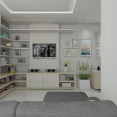 sala de estar - vista do hack: Salas de estar escandinavas por Janaira Morr & Rachel Maia