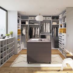 AMBIANCE DRESSING - Dressing en U - graphis blanc/gris: Dressing de style de style Moderne par Archi'Tendances.fr