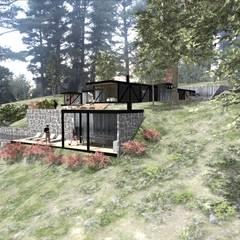 VISTA FRONTAL : Casas de estilo  por KOMMER ARQUITECTOS