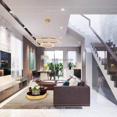 THIẾT KẾ BIỆT THỰ PALM CITY - Nét đẹp giao hòa trong không gian sống hiện đại:  Phòng khách by ICON INTERIOR