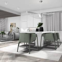 Jadalnia z widokiem na salon: styl , w kategorii Jadalnia zaprojektowany przez 91m2 Architektura Wnętrz