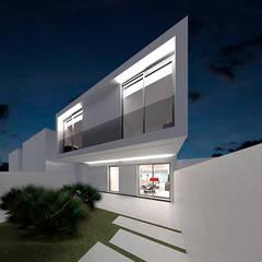 FACHADA PATIO ANTERIOR CASA HEN: Casas unifamilares de estilo  de VALEROYOCHANDO arquitectura