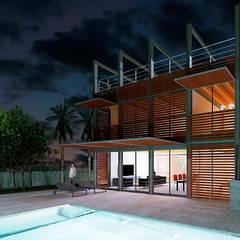 FACHADA PRINCIPAL CASA IBARRA: Casas unifamilares de estilo  de VALEROYOCHANDO arquitectura