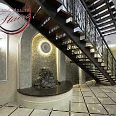 Steel and Marble multistory Staircase in Omsk Russia :  Stairs by Grand Design Stairs